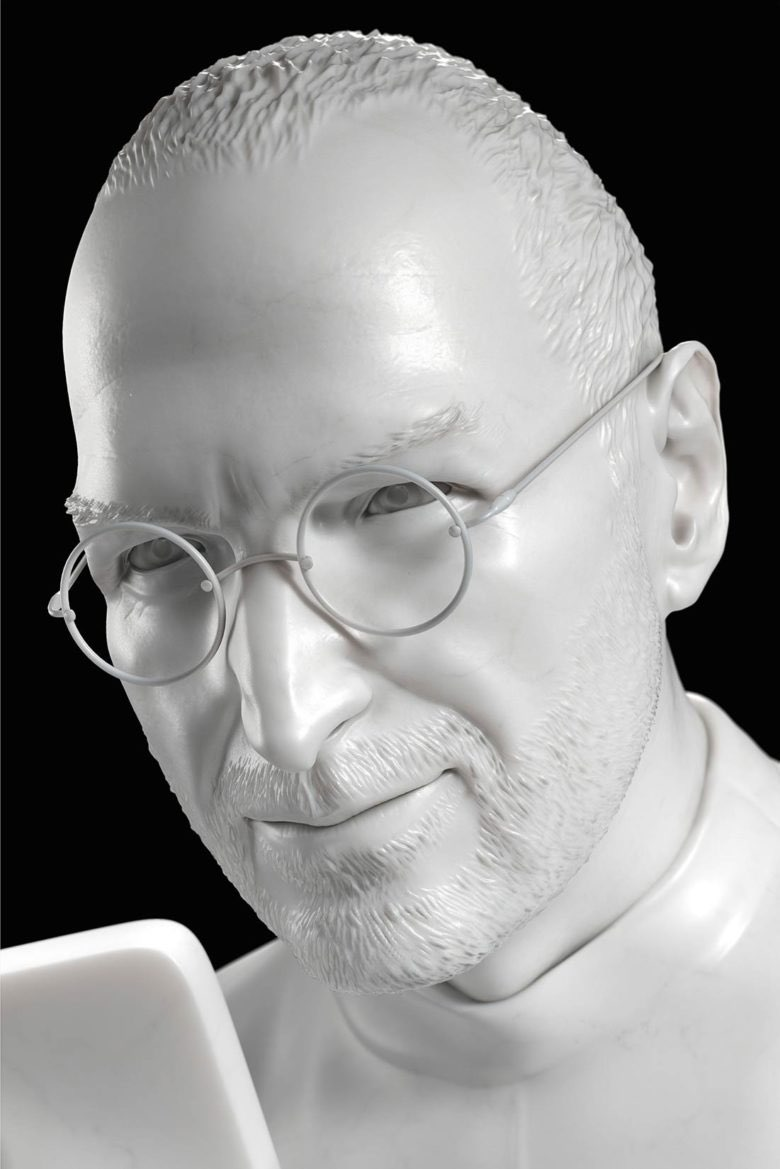 Steve Jobs sculptuur close-up