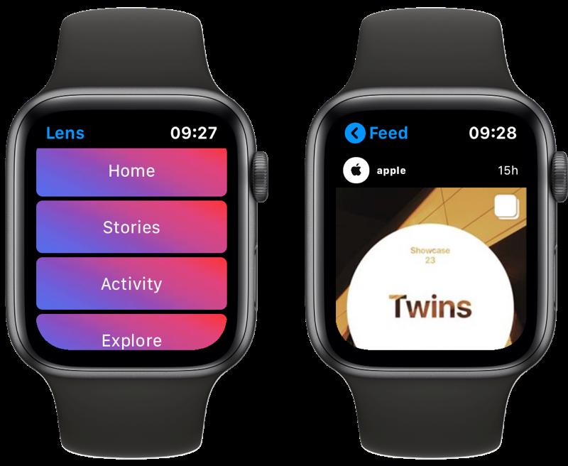 Lens Instagram-app op Apple Watch met menu en tijdlijn.