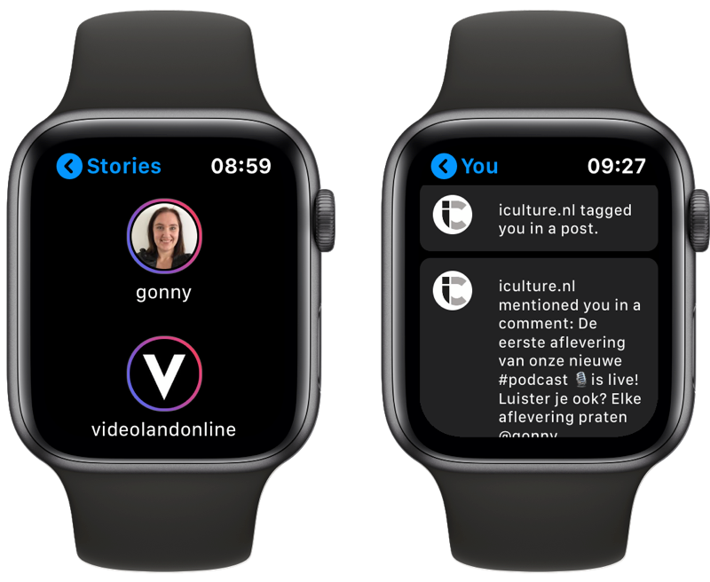 Lens Instagram-app op Apple Watch met Stories en activiteiten.