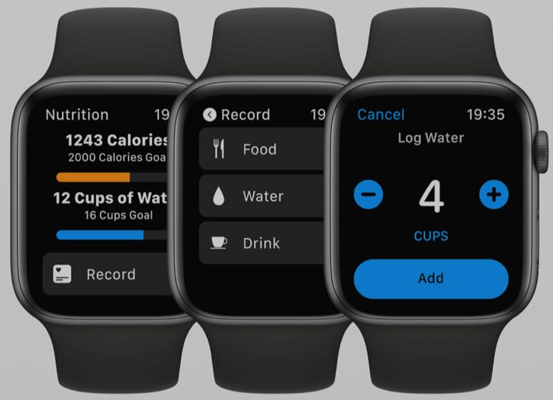 watchOS 6 concept met Nutrition-app.