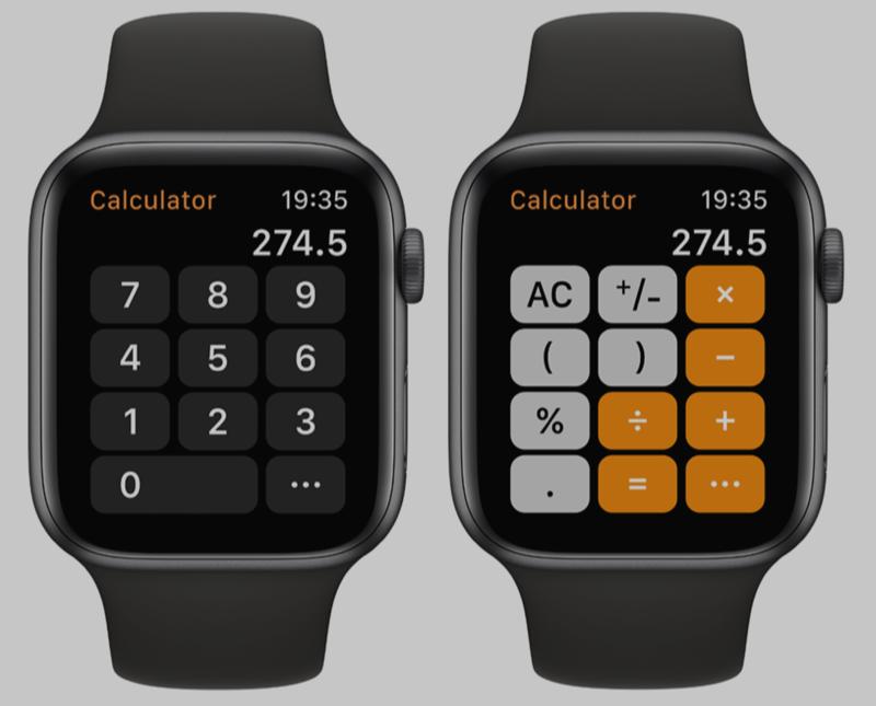 watchOS 6-concept met rekenmachine.