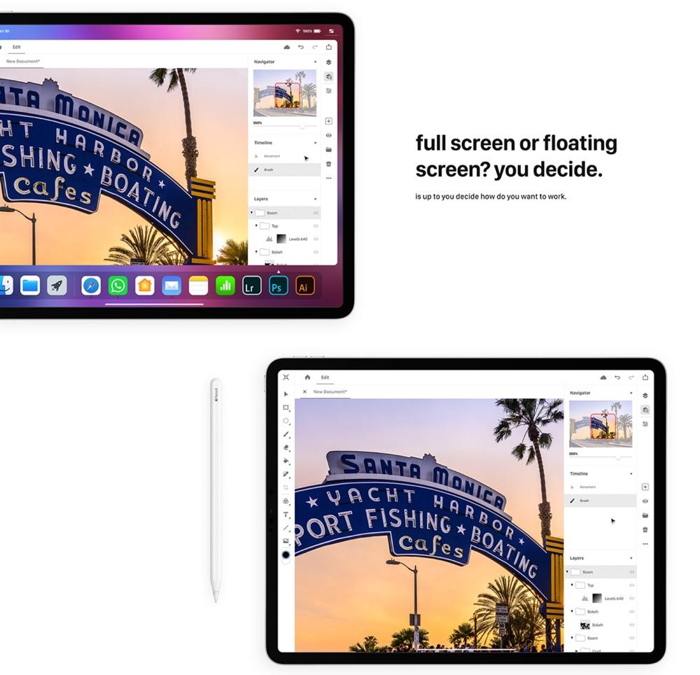 iOS 13-concept op iPad met losse schermen.