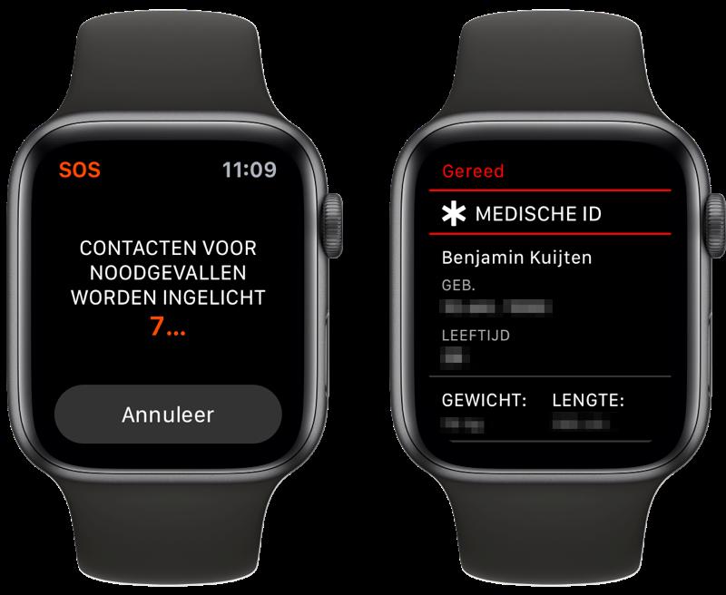 SOS-noodmelding op de Apple Watch contactinfo.