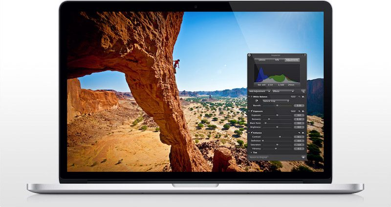 Aperture op MacBook