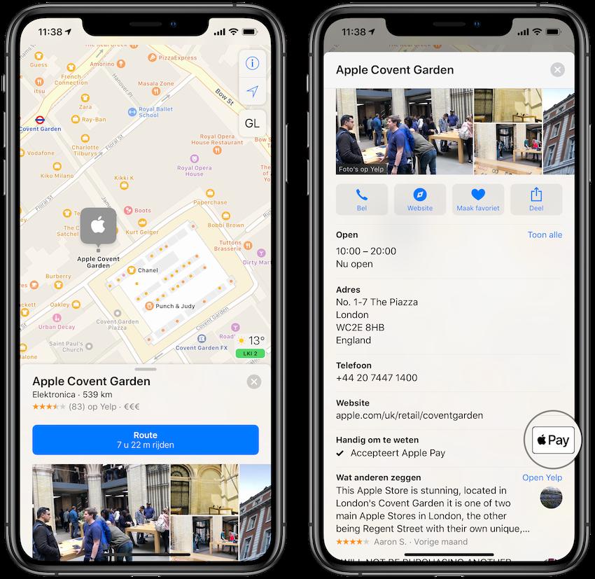 Apple Pay ondersteuning bij winkels en restaurants