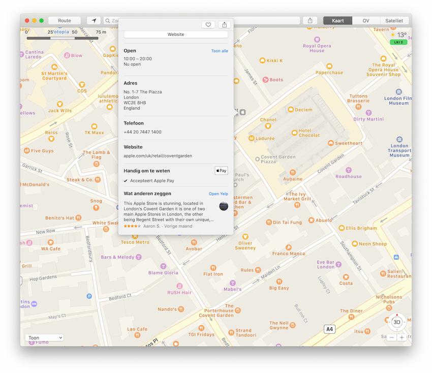 Apple Pay in Kaarten op Mac
