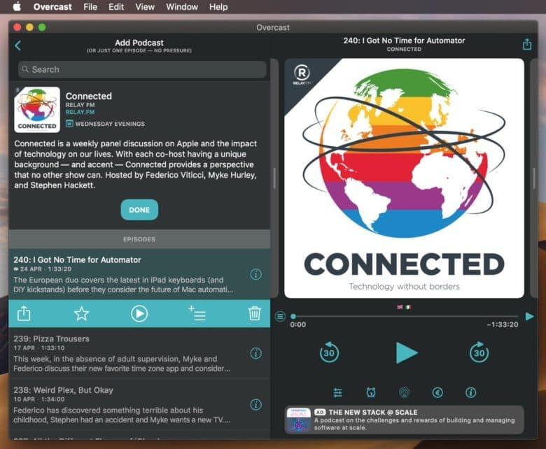 Overcast voor de Mac dark mode