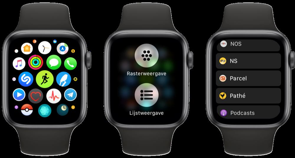 Apple Watch-apps in lijstweergave.
