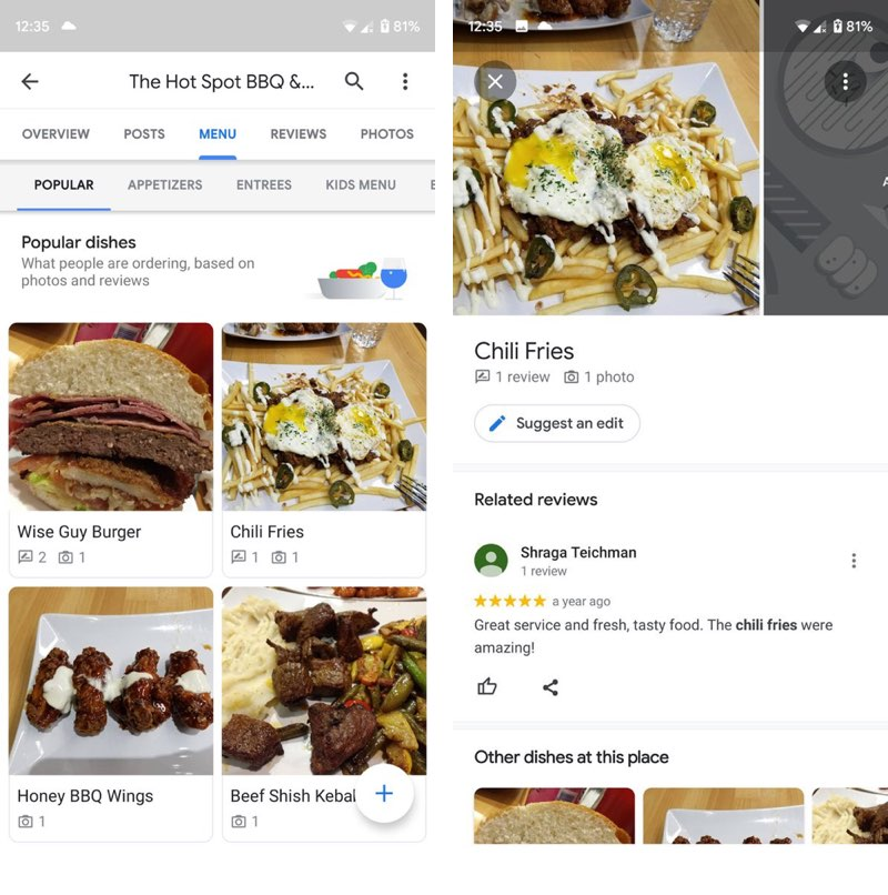 Google Maps menukaart met fotos