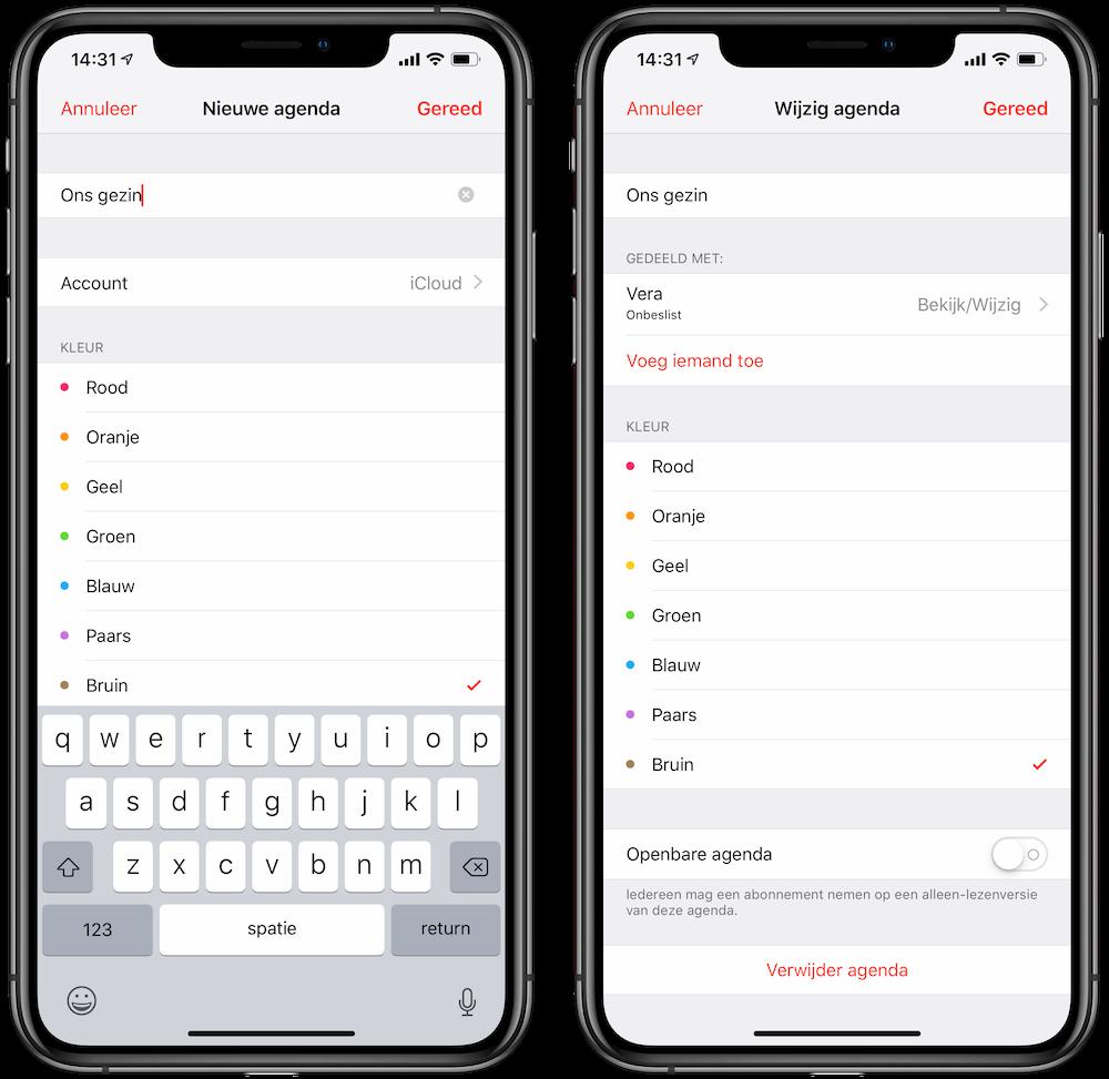 Agenda aanmaken en delen iPhone