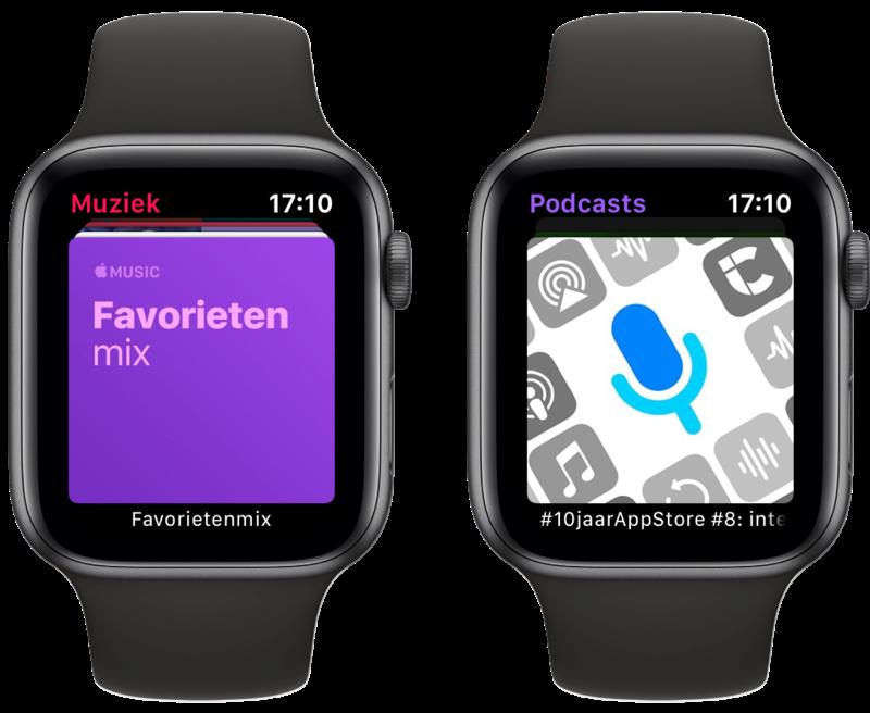 Muziek- en Podcasts-app op Apple Watch.