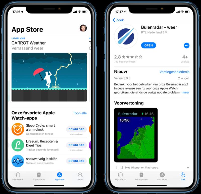 Watch App Store op de iPhone.