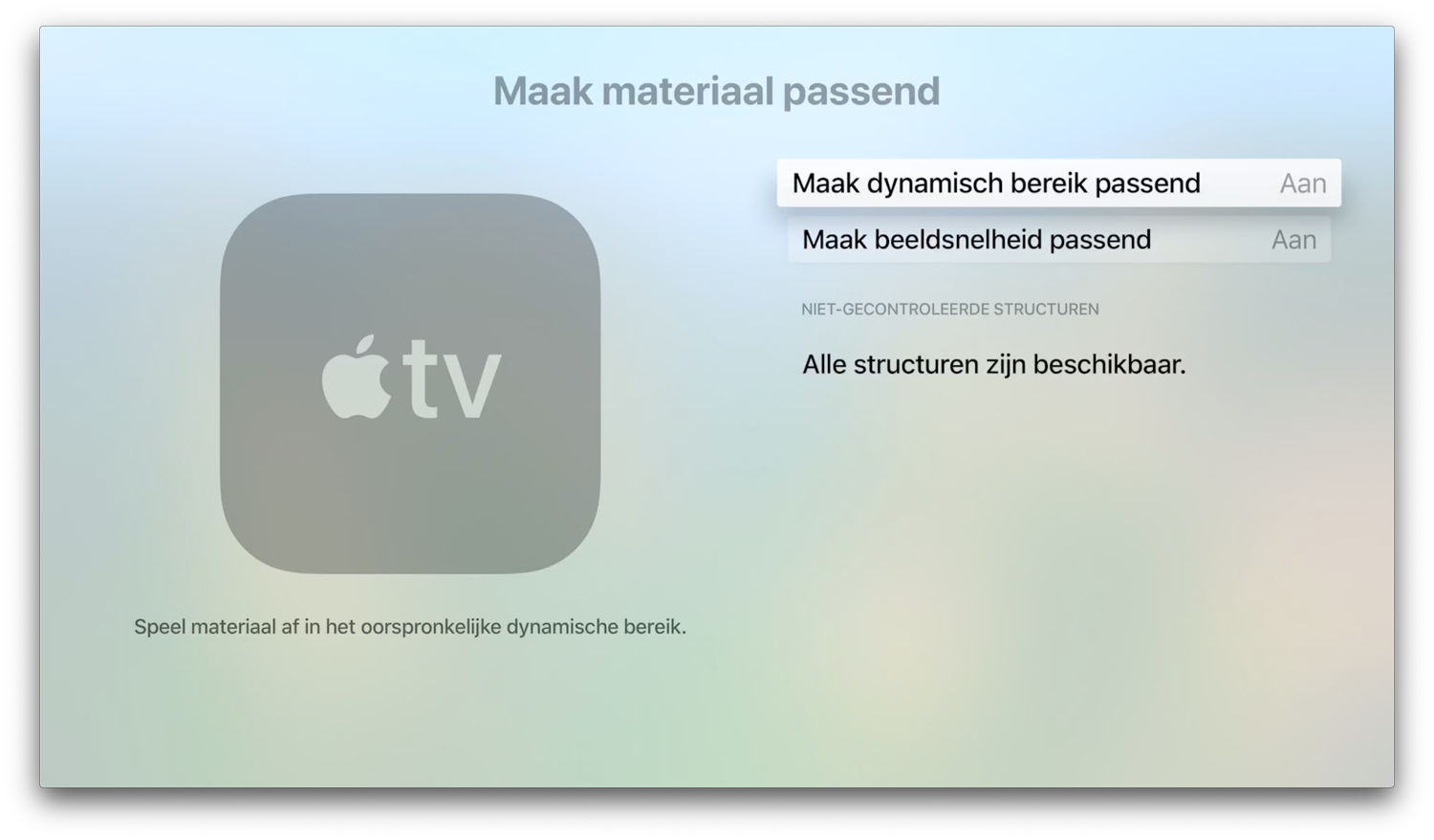 Apple TV 4K materiaal passend maken.