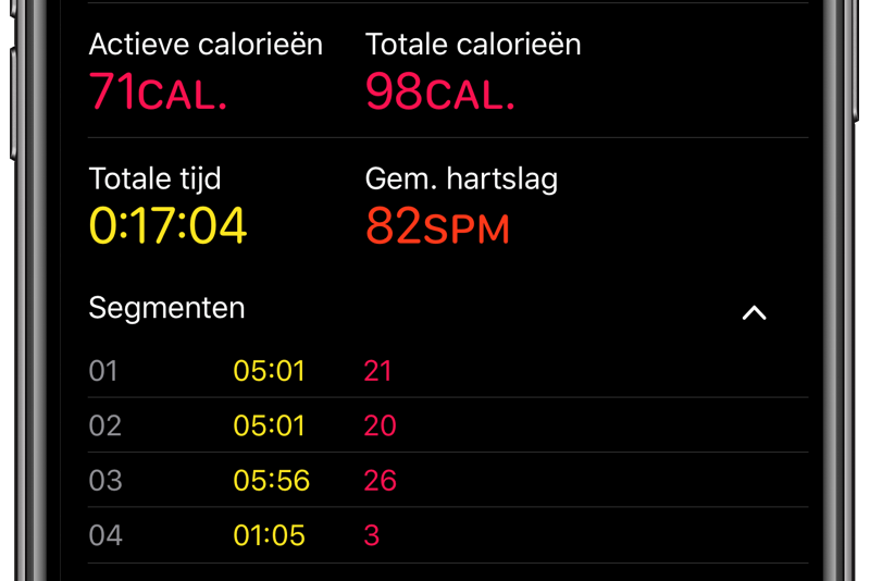 Apple Watch workout segmenten