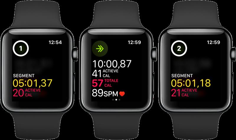 Workout segmenten op de Apple Watch