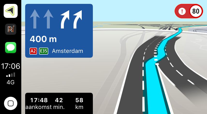 TomTom Navigation CarPlay rijstrookbegeleiding.