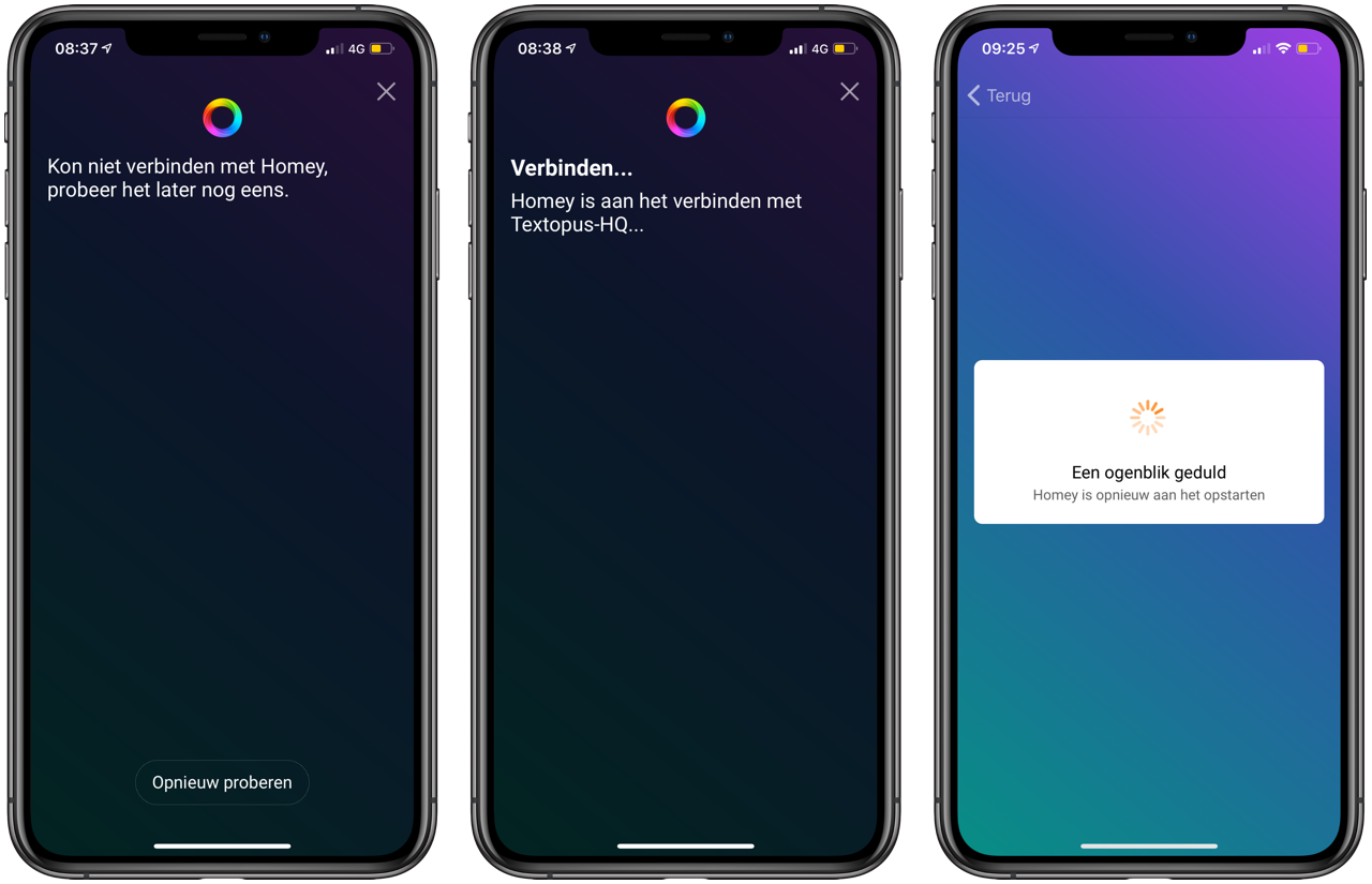 Homey-review: schermen van de app