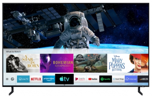 Samsung tv met AirPlay 2 en TV-app.