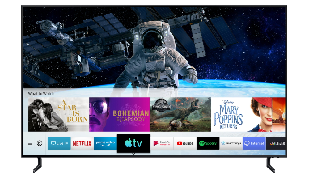 Samsung tv met AirPlay 2 en TV-app.