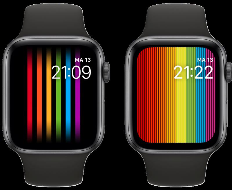 Apple Watch Pride-wijzerplaat oud vs nieuw.