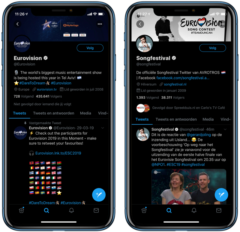 Eurovision Songfestival 2019 op Twitter.