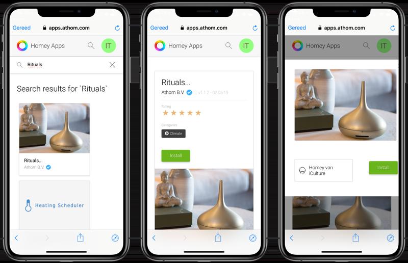 Rituals diffuser opzoeken in Homey-app