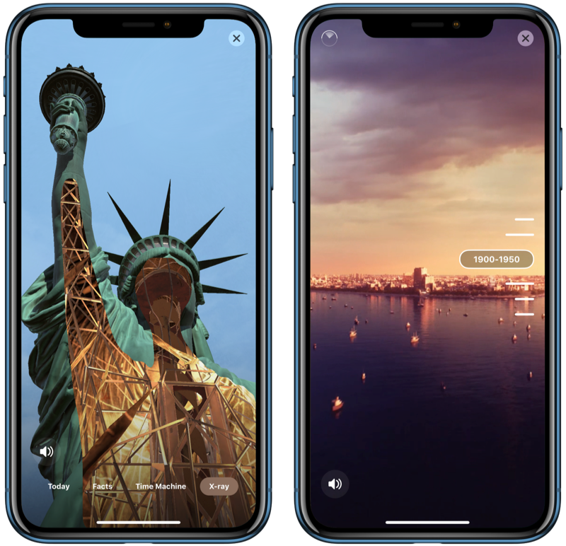 Vrijheidsbeeld in AR in Statue of Liberty-app.