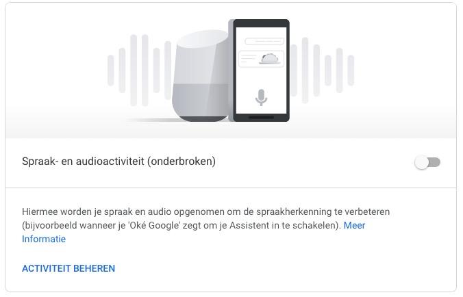 Google spraak- en audiogegevens