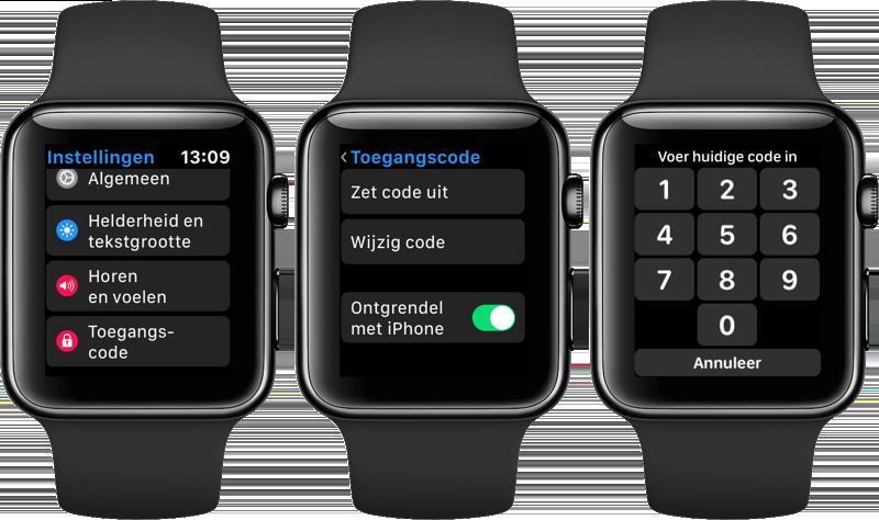 Apple Watch toegangscode instellen
