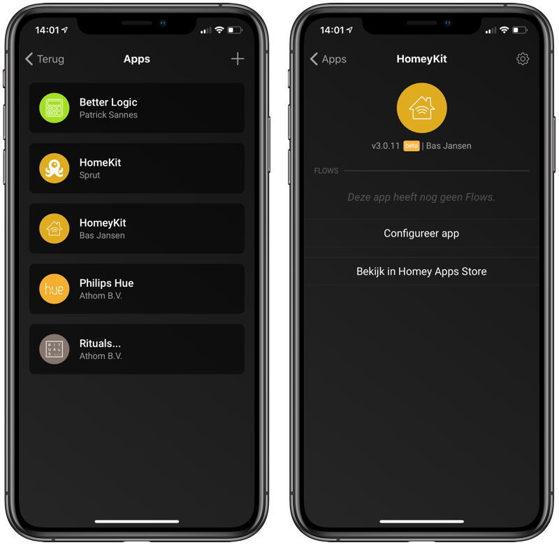 Homey met HomeKit-apps