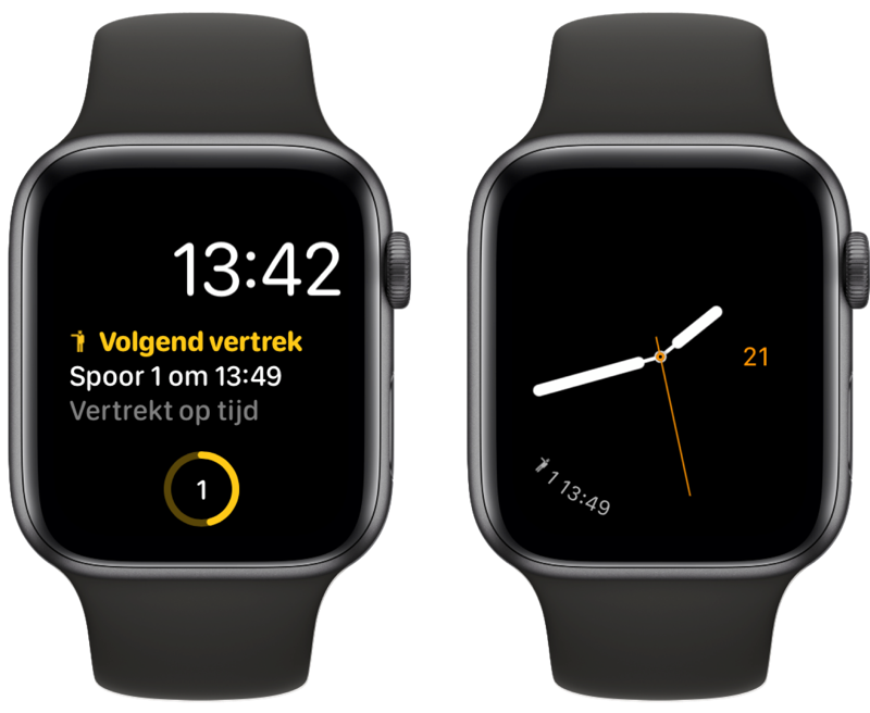 Treingids-complicatie op Apple Watch.