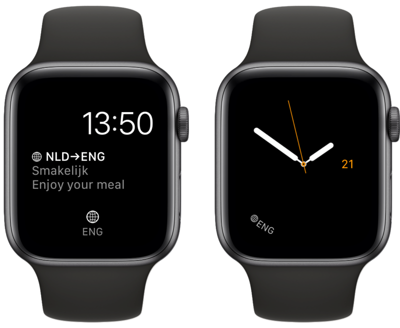 iTranslate-complicatie op Apple Watch.