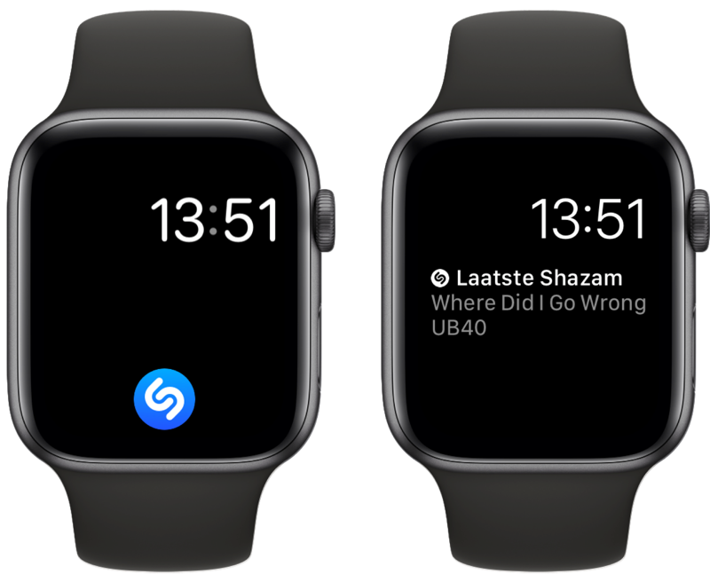 Shazam-complicatie op Apple Watch.