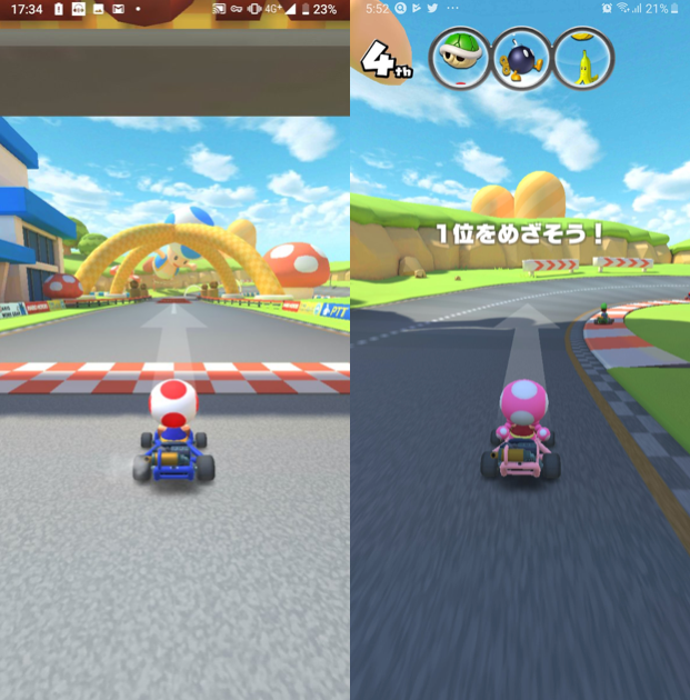 Mario Kart Tour met Toad en Toadette.