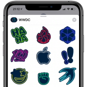 WWDC 2019 app met neon stickers