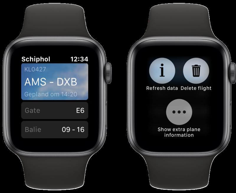 Onofficiële Schiphol-app op Apple Watch.