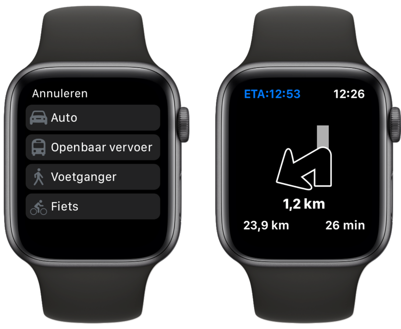 Magic Earth op Apple Watch.