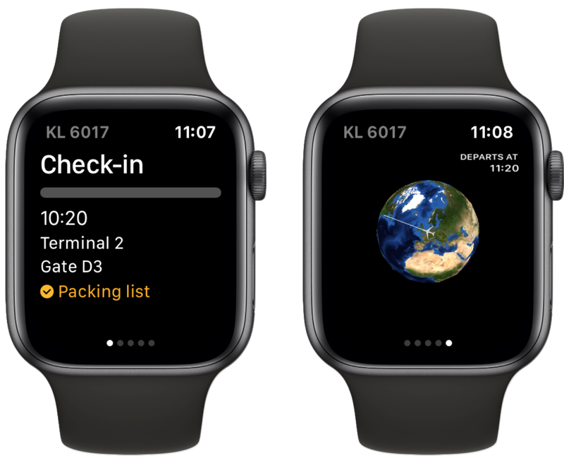 App in the Air op Apple Watch.