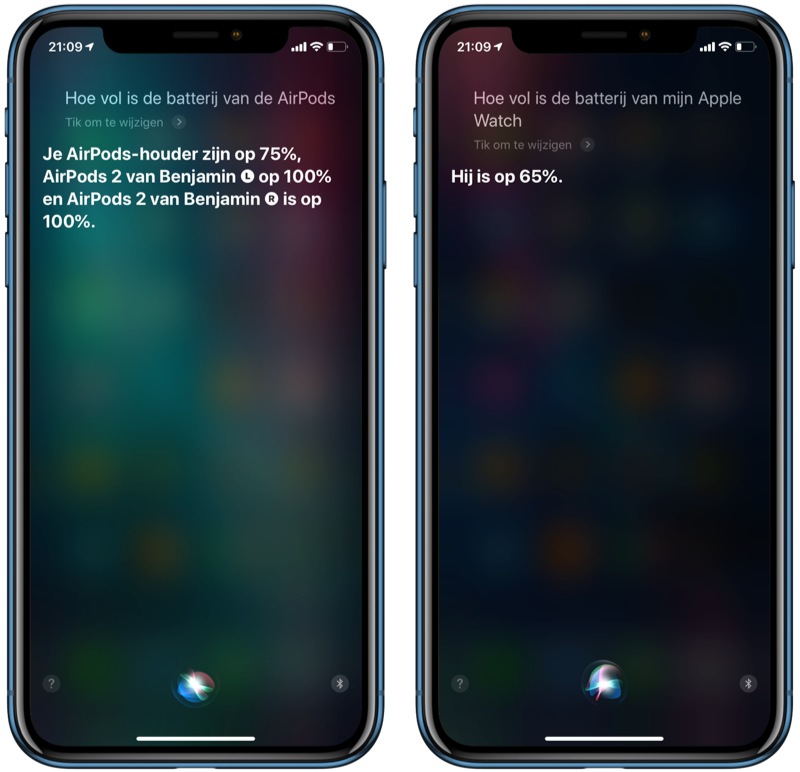 Batterijstatus via Siri opvragen.