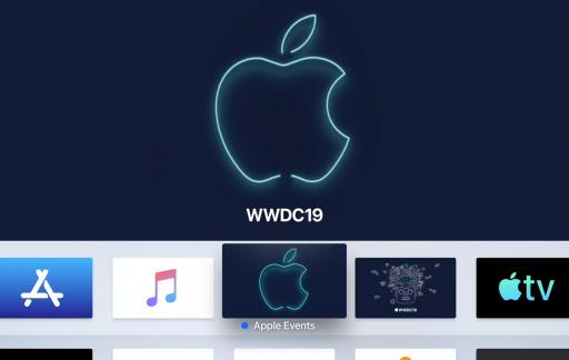 Apple TV met Events-app voor WWDC 2019.