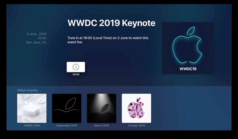 Apple Events-app voor WWDC 2019.
