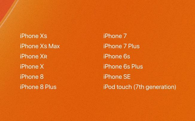 iOS 13 toestellen.