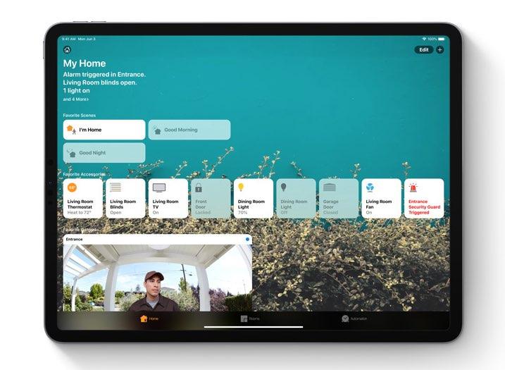iPadOS Woning-app met beveiligingsbeelden