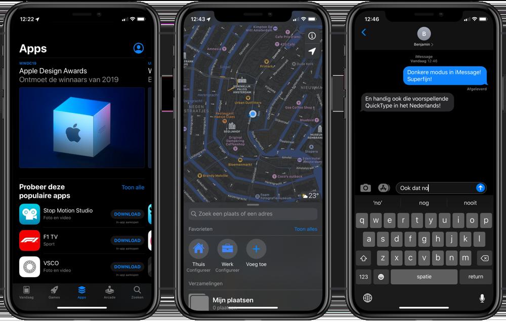 iOS 13 met App Store, Kaarten en iMessage in het donker.