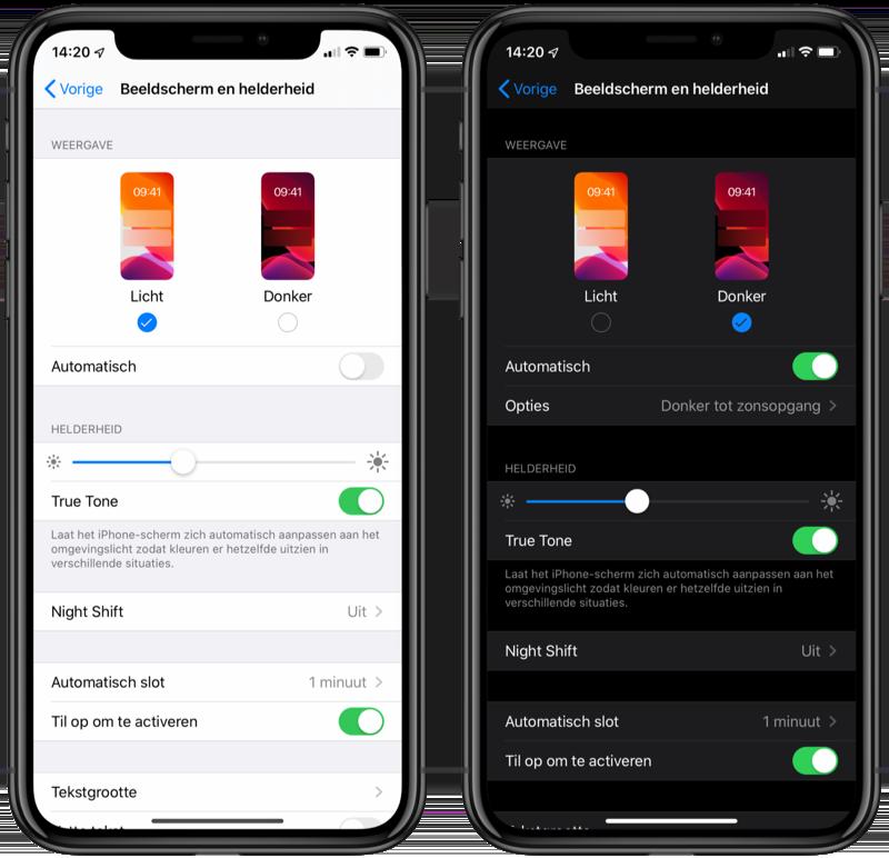 iOS 13 lichte en donkere modus instellen.
