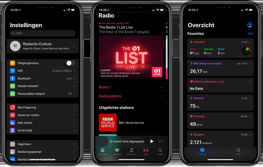 iOS 13 Instellingen, Muziek en Gezondheid in het donker.