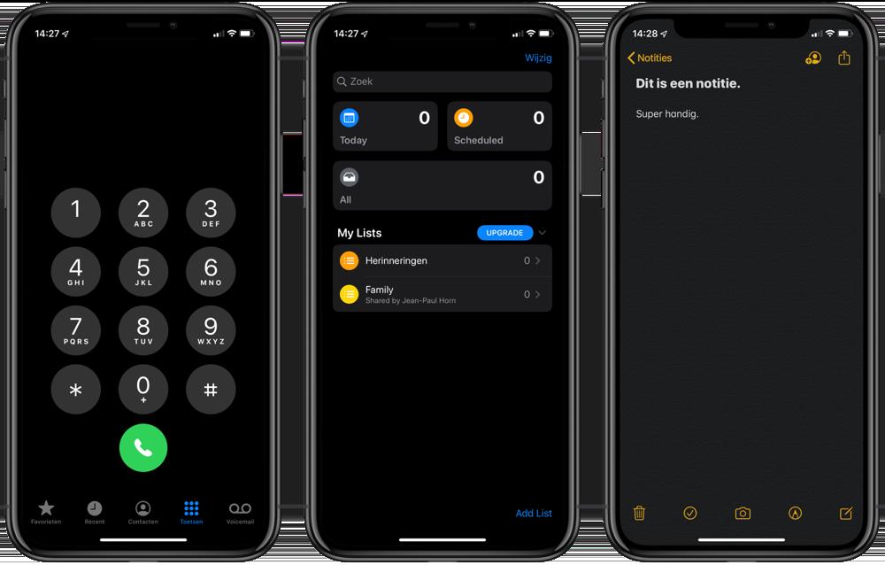 iOS 13 Telefoon,  Herinneringen en Notities in het donker.