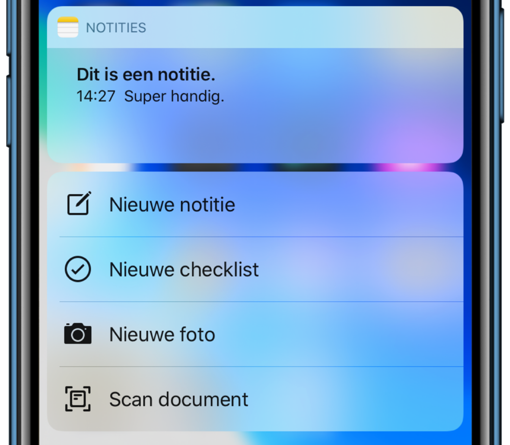 Quick Action bij Haptic Touch op een iPhone XR.