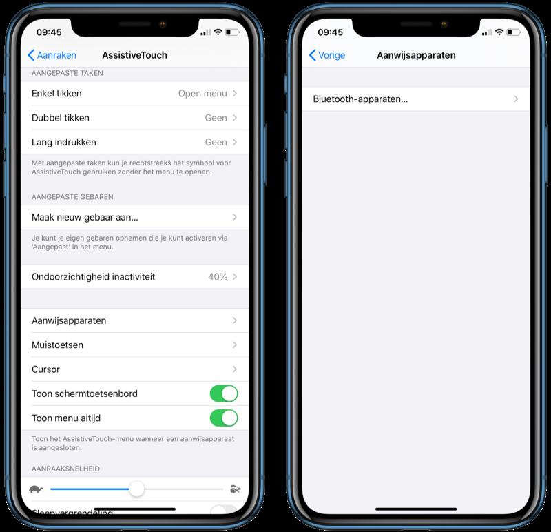 Muis-instellingen in iOS 13.