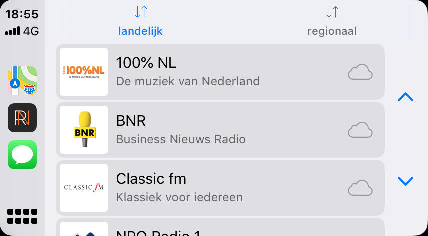 CarPlay in iOS 13 met lichte RadioNED.